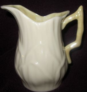 Belleek China Lily White Creamer Lustre Yellow Inside Twig Handle