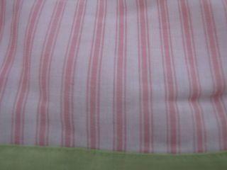 New Pink Lime Green Pinstripe Full Bed Skirt Bedskirt Dust Ruffle