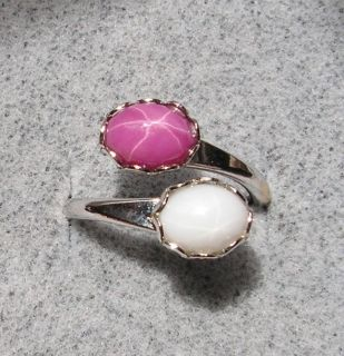 8x6mm White Pink Linde Lindy Star Sapphire Created Ring
