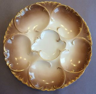 Antique Haviland Limoges Oyster Plate Gorgeous Chocolate Brown