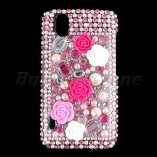 Flower Bling Crystal Diamond Rhinestone Case Cover for LG Optimus