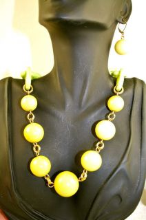 Vintage Estate Huge Yellow Green Bead Chunky Necklace Earrings Set not