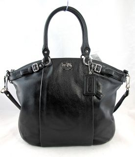 Coach Madison Lindsey Black Leather 18641 Satchel Tote Purse $398