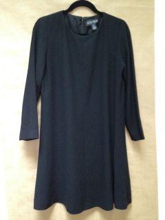 Linda Allard Ellen Tracy Petite LBD Black Long Sleeve Trapeze Dress 8P