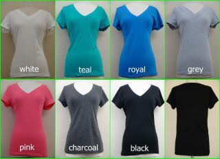 Womens Ladies Plus Size Casual Comfortable Plain Basic V Neck T