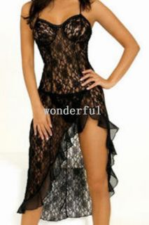 9015 Black Sexy Floral Lace Mesh Lingeries long dress sleeping wear G