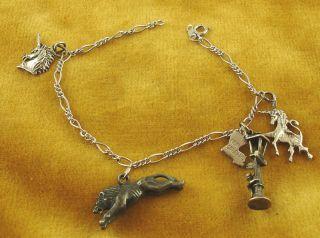 925 Sterling Bracelet 4 Charms New Orleans Unicorn Lion