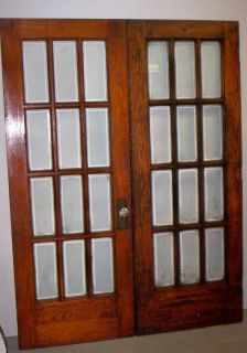 Antique Oak 12 Light Beveled Glass French Doors c1916 60 x 81