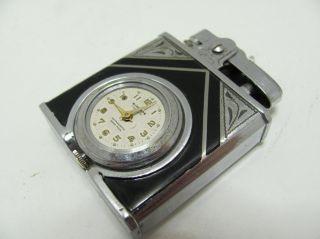 Windsor DeLuxe Swiss Pocket Watch Lighter Art Deco Enamel Time Lite