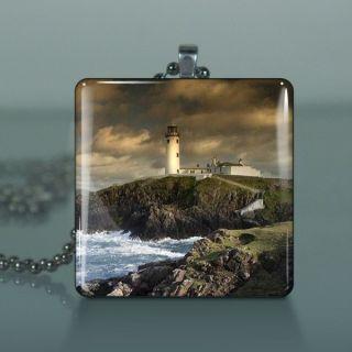 Fanad Head Lighthouse Glass Tile Necklace Pendant 830