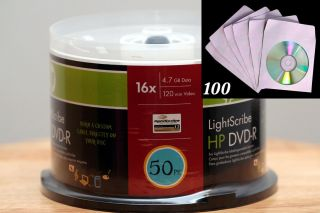 50 HP Lightscribe DVD R Blank DVD Discs 16x 100pcs CD DVD Paper Sleeve