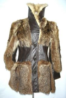 Vtg 60s Canadian Arctic Wolf Raccoon Fur Leather Coat