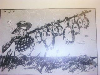 Vtg 1936 PAULE LORING sketch DUCK HUNTING Cartoon CHRISTMAS CARD RI