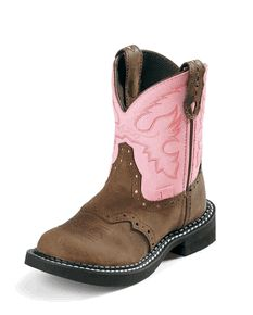 Little Girls Justin Cowboy Boots Brown Pink Uppers Leather