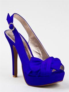 New Qupid Women Bow Platform High Heel Stiletto Slingback Pump Sz Blue