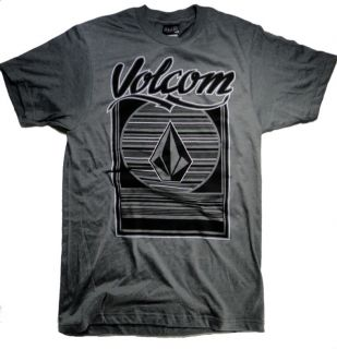 34 VOLCOM SKATEBOARD SURFING MENS SPORT GRAY T SHIRT THE LATS UV SMALL