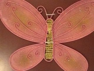 Little Boutique Bling Wall Art Pink Metal Butterfly 14x10 New Girls