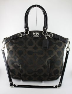 Coach Madison Lindsey Black Op Art Signature Shoulder Satchel Bag $358