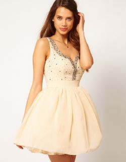 ASOS Little Mistress Diamante Sweetheart Neck Prom Dress Tutu Tulle 14