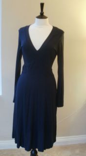 LK Bennett Classic Long Sleeve Dress in Deep Navy Blue 16