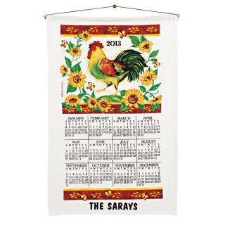 New Personalized 2013 Rooster Linen Calendar Towel w Wooden Dowel Cord