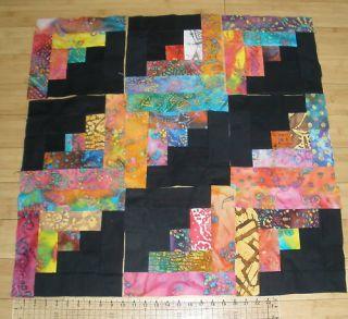 Log Cabin Scrappy Batik and Black Quilt 9 Block Kits