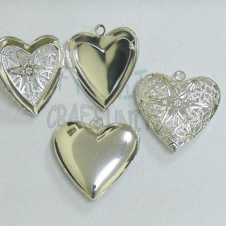 Pcs Brass Filigree Heart Lockets Pendant Silver Plated C760