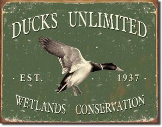 Ducks Unlimited Duck Hunting Lodge Tin Metal Sign New