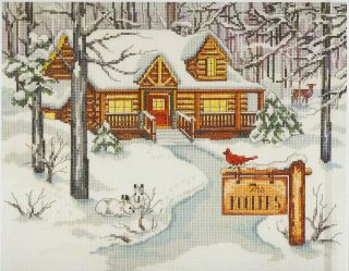 Janlynn Cabin in the Woods Log Home House Counted Cross Stitch Kit NIP
