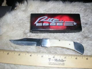 Rite Edge 4 inch Folding Lock Back Knife Bone Handles NIB