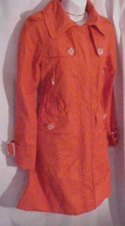 London Fog Cute Class Coral Orange Trench Raincoat S