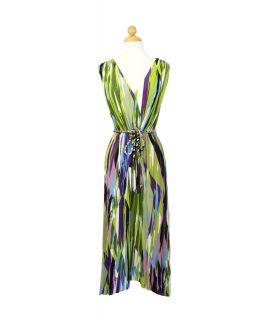 London Times Geometric Print Stretch Long Dress Size 4 s M