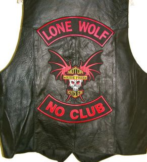 Lone Wolf No Club Tough Biker Red Patch Free Vest 52