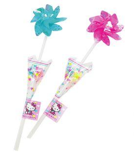 Hello Kitty Pin Wheel 4pc Lollipop Candy Bouquet Toy Windmill