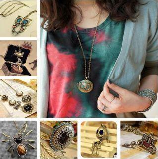 Fashion Classic Lady Women Long Sweater Necklace Metallic Pendant