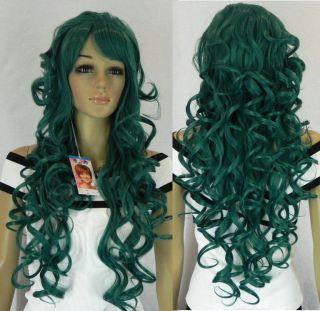 Long Dark Green Curly Hair Womens Wig w 260