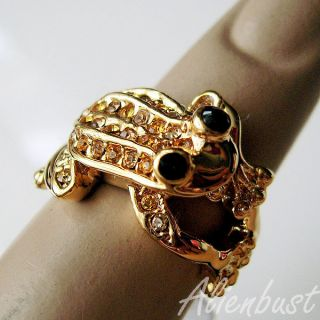 GORGEOUS 18K YELLOW GOLD PLATED CZ STONES FASHION FROG RING SZ 5 5 K
