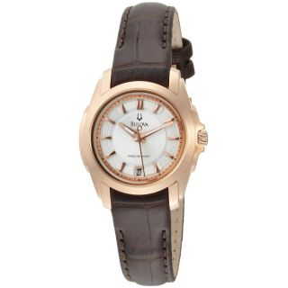 Womens 97M104 Precisionist Longwood Rose Tone Brown Leather Watch