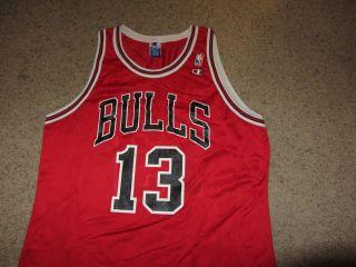 Vintage Champion Luc Longley Chicago Bulls NBA Basketball Jersey 48 13