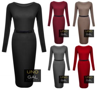 Womens Ladies Stretchy Jersey Belted Long Sleeve MIDI Bodycon Dress UK