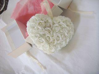 Heart Shape Silk White Rose Flower Wedding Kissing Pomander Ball Decor