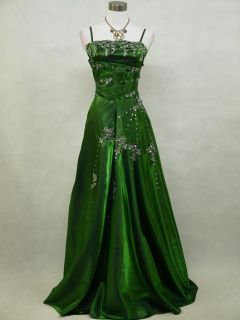 Cherlone Green Sparkle Long Satin Ball Prom Wedding Evening Gown Dress