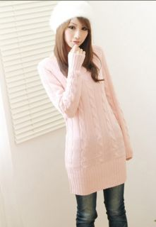 Fashion Warm Designed Scoop Neck Pullover Long Sweater Coat