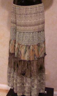 LANE BRYANT long Pull on skirt features flowing tiers green brown 14