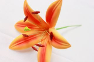 Hawaii Bridal Wedding Party Foam Flower Hair Pick Orange Lily