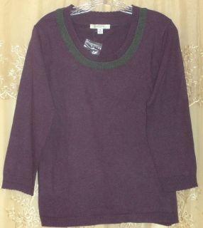 Liz Claiborne New York Tipped Scoop Neck Sweater Medium