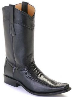 Ostrich Leg Leather Black Los Altos Mens Cowboy Boots Western Fashion