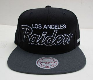 Los Angeles Raiders Black Grey Snap Back Cap Hat by Mitchell Ness