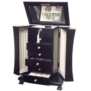 865 Java Wood Wooden Locking Jewelry Box Necklace Chest Art Deco Dark