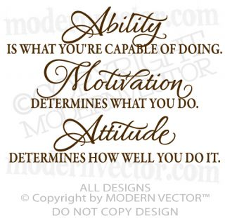 Motivation Attitude Quote Vinyl Wall Decal Lettering Lou Holtz